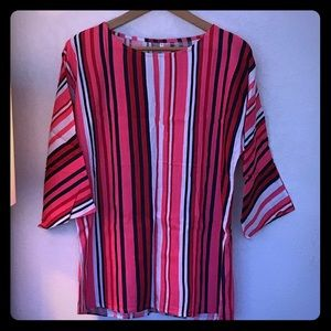 Tops - Striped pink blue and white blouse size Medium